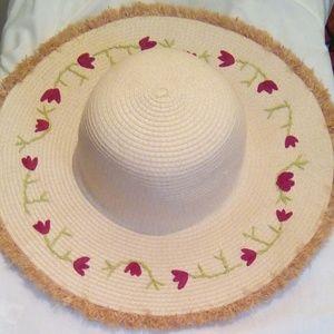 Floral Floppy Straw Hat